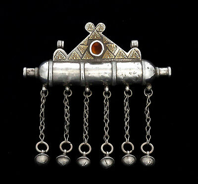 Large old ethnic pendant amulet case in gilded silver, Turkmenistan 1920's