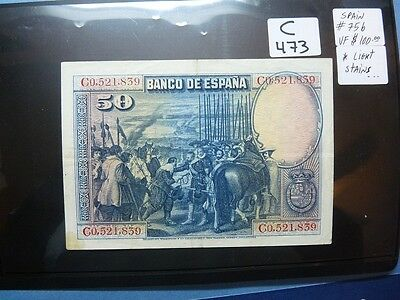 Rare Vintage Banknote Spain 1928 50 Pesetas High Quality Cat Value 100.00   C473