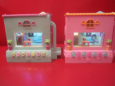 LOT of 2 Pixel Chix Flat Top Roof House Electronic Game Virtual Pet Pink Blue