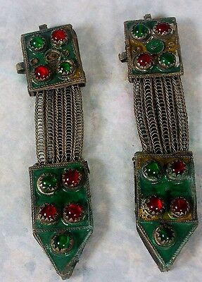 2 Antique Berber Fibulae Chains TIZERZAI Morocco N Africa Enamel Glass Cabochons