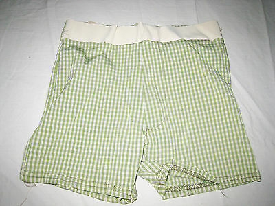 Vtg 1950's/60s Green Striped Nylon Swim Suit Boys Mens Beefcake Trunks Shorts XS