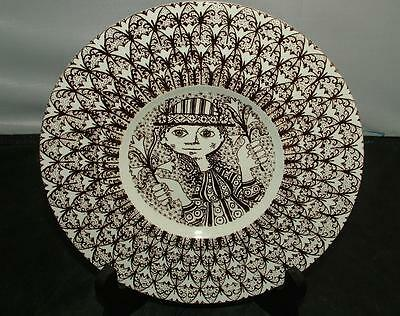 Bjorn Wiinblad Brown & White Faience Wall Plate For Nymolle