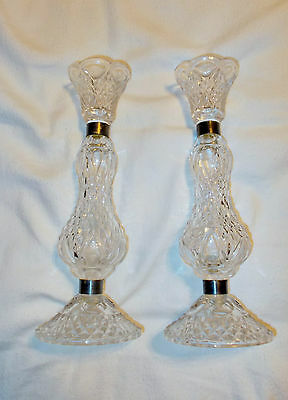 Set Of 2 Pair Vintage Candlesticks Taper Candle Holders Glass Silver Bands