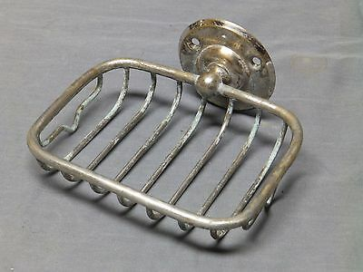 Antique Nickel Brass Wall Mount Wire Basket Soap Dish Old Vtg Bathroom 114-17E