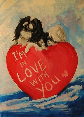 Original Painting~Japanese Chin~Dog~Hand Painted~mini~Valentine~CARD~in LOVE w U