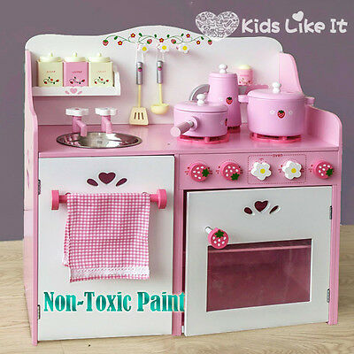Girls Kids Pink Wooden Strawberry Kitchen Pretend Play Set Cooking Home Cookware