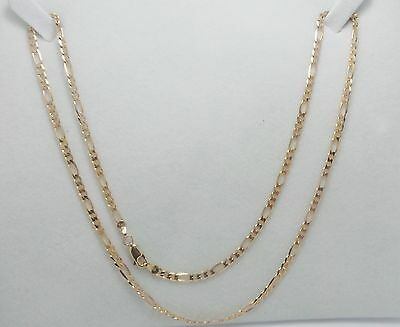 9Ct Yellow Gold 3 + 1 Figaro Chain Link Necklace - 6.27 Grams - 51Cm