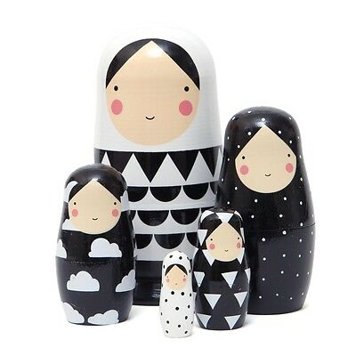 Sketch Inc. Nesting/Russian Dolls 'Black & White' by Petit Monkey
