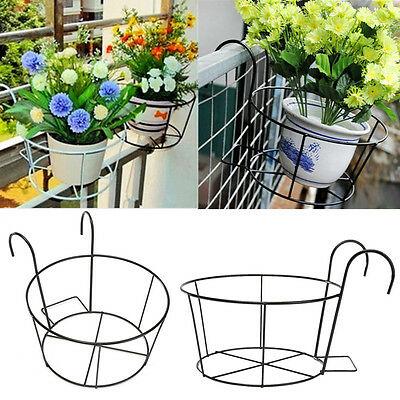 Metal Iron Flower Pot Hanging Balcony Garden Plant Planter Home Decor basket