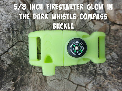 """5/8"""" Glow in the Dark Paracord Flint Compass Whistle Fire Starter Buckle"""