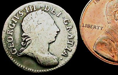 S542: 1762 George III Silver Threepence - the year the Sandwich was invented!!