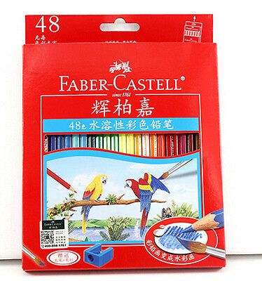 Set of 48 Water Colour Pencils Colorful Drawing Stationary Wood Fine Art Tool