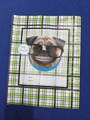 PUG EXERCISE BOOK COVER Reusable Stationery Back To School SAY CHEESE Glasses