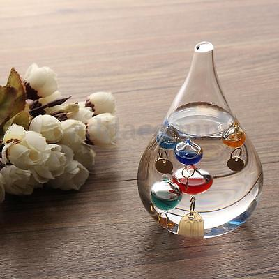 4'' Tear Drop Galileo Glass Liquid Floats Thermometer 16-34 Degree Home Decor