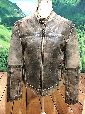 Women's TRANSMISSION Biker Motorcycle Leather Jacket Brown/Gray Sz M