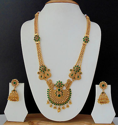 Long Necklace Jewelry Bollywood Gold Plated Green Ethnic Indian Traditional Set