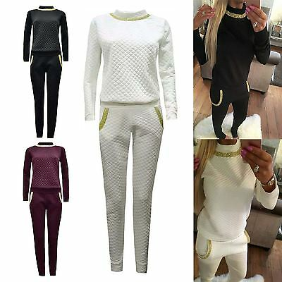 New Ladies Diamante Jogging Loungewear Womens Tracksuit Quilted Sweat Pants Suit