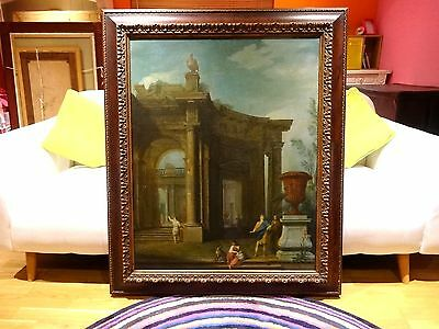 Fine Large 17th Century Italian Architectural Classical Roman Landscape Painting