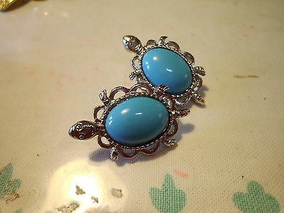 Vintage To Now-Silver TURTLE  Pierced EARRINGS TURQUOISE Blue Cabachon Plastic