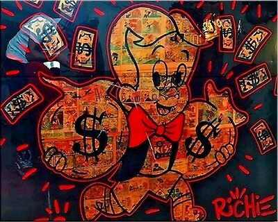 Alec Monopoly Oil Painting on Canvas Graffiti art Wall Decor Richie Rich 12x16""