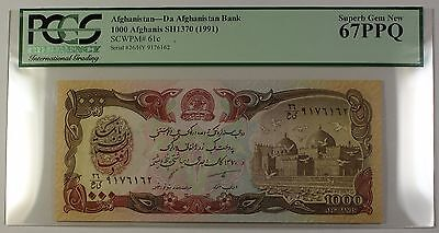 SH1370 (1991) Afghanistan 1000 Afghanis Bank Note SCWPM# 61c PCGS GEM 67 PPQ
