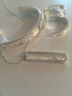 Tiff Style silver bangle,earrings and necklace set 925