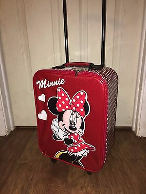 NEW Authentic Disney Parks Minnie Mouse Soft Small Rolling Kid Suitcase Luggage
