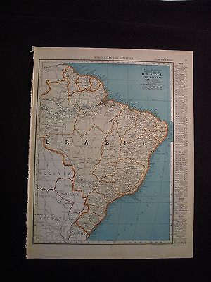 Vintage 1940 Color Map of Brazil or Bolivia from Colliers World Atlas
