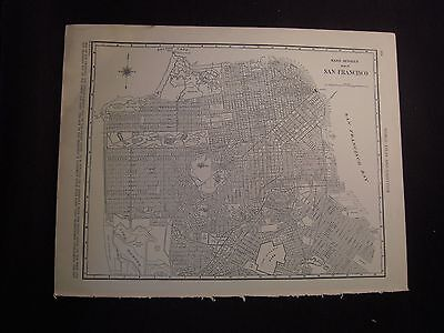 Vintage 1940 B&W Map of San Francisco from Colliers World Atlas