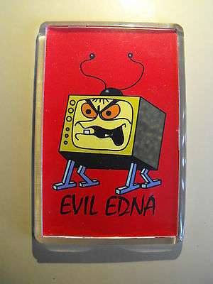 "EXCELLENT WILLO THE WISP ""EVIL EDNA ""  ACRYLIC FRIDGE MAGNET. retro tv, cartoon"
