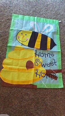 """Honey Bee Hive Appliqued Garden Flag 40 x 28 Yard Spring """"Home Sweet Home"""""""