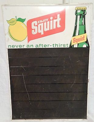 Vintage 1971 Advertising Menu Board- Squirt Lemon Lime Soda Metal Wall Sign