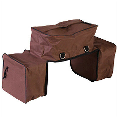 Hilason Western Horse Tack 600D Insulated Combo Saddle Bag Brown