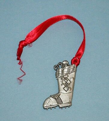 Pewter Christmas Boot Stocking Ornament / Basket Tie-On
