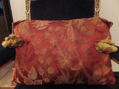 Genuine Antique Vintage 100% Silk Damask Hand-Made Xl Cushion  Pillow Burnt Red
