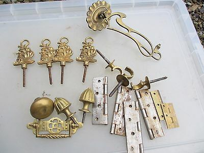 Vintage Brass Finial Knob Handle Curtain Hook Finials Hinges Antique Sconce Old