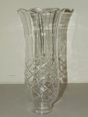 Antique Ornate Victorian Heavy Glass Crystal Hurricane Candle Lamp Chimney Shade