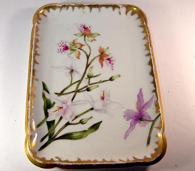 Antique Haviland Limoges Hand Painted Asiatic Lily Dresser Display Tray w Gold