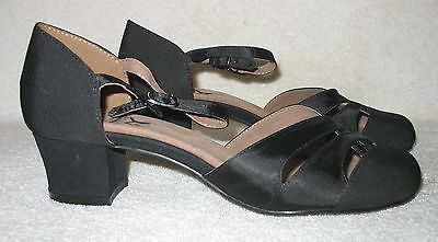 ARIS ALLEN Women's ANKLE STRAP CLASSIC DANCE SHOES Black Satin Sz 7 1/2