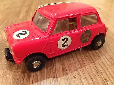 Rare Scalextric Red Austin Mini-Cooper early 1960's + Maintenance Instructions