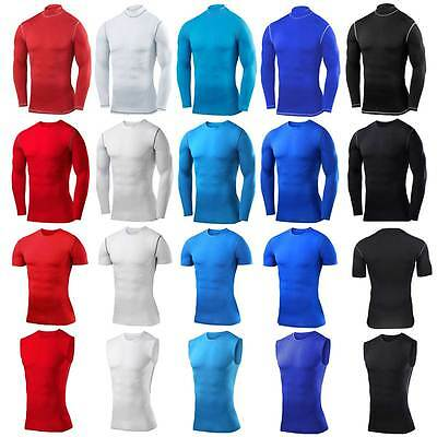 Mens Skins Compression Top Armour Tights Base Layers Under Gym Shirts Vests New