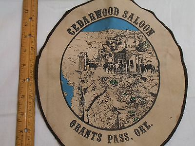 """Vintage 1980's Cedarwood Saloon, Grants Pass,OR Large 11"""" Cloth Oval Patch"""
