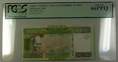 2006 Central Bank Republic of Guinea 500 Francs Note SCWPM# 39a PCGS GEM 66 PPQ