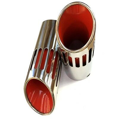 71-74 B-Body Mopar Long Red Slotted Exhaust Tips cars w/Resonators HEMI 440