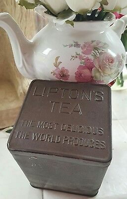 Vintage Lipton's Tea Tin Container The Most Delicious World Produces FREE S/H
