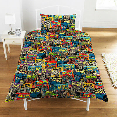 Official Licensed Product Dr Who Comic Single Duvet Set Tardis Fun Fan Gift New