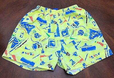 VTG 80s Ocean Pacific Yellow Print Swim Trunks Shorts Mens Tag XL Fits Medium L
