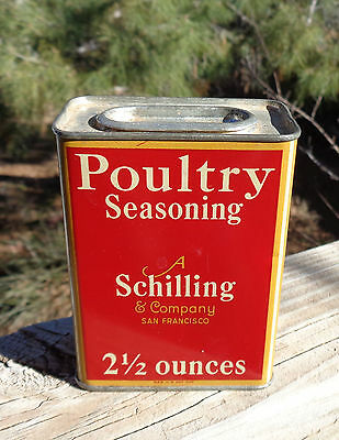 Tin Can Schilling Poultry Seasoning Metal Large Vintage Advertising 1933 Red