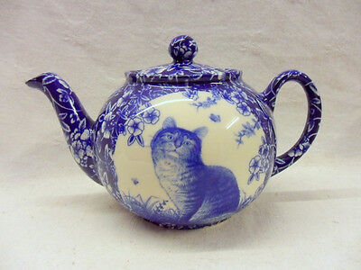 Blue victorian cat chintz design 2 cup teapot by Heron Cross Pottery