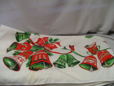 "Christmas Table Cover Bells, Poinsettia, Ribbon 50""x66"" Retro"